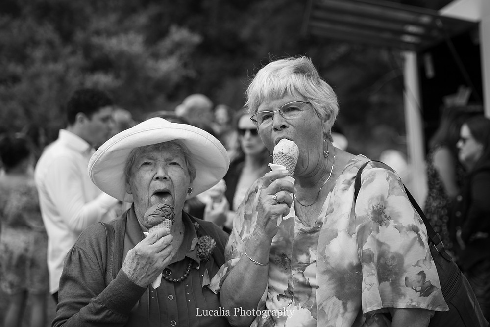 older wedding guests eating ice cream at wedding reception, Wairarapa wedding photographers