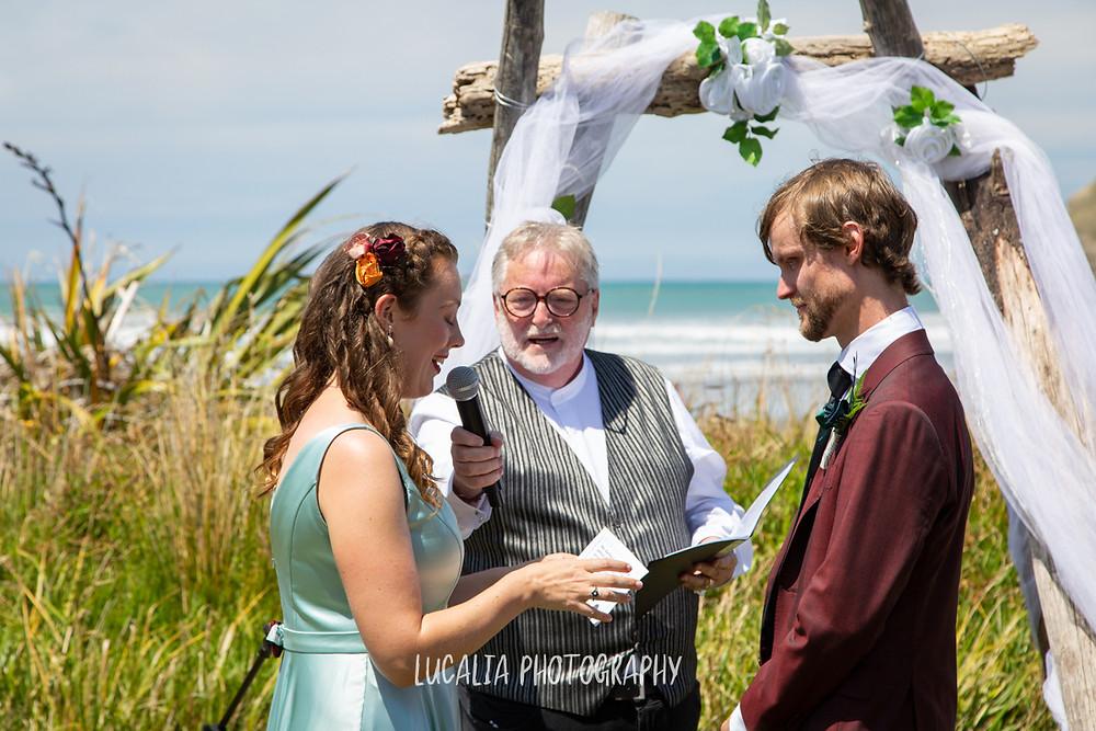 wedding vows, Castlepoint Wairarapa wedding, Lucalia Photography