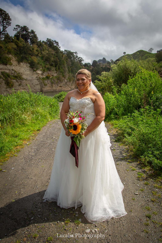 bridal portrait near river, Wairarapa wedding photographer