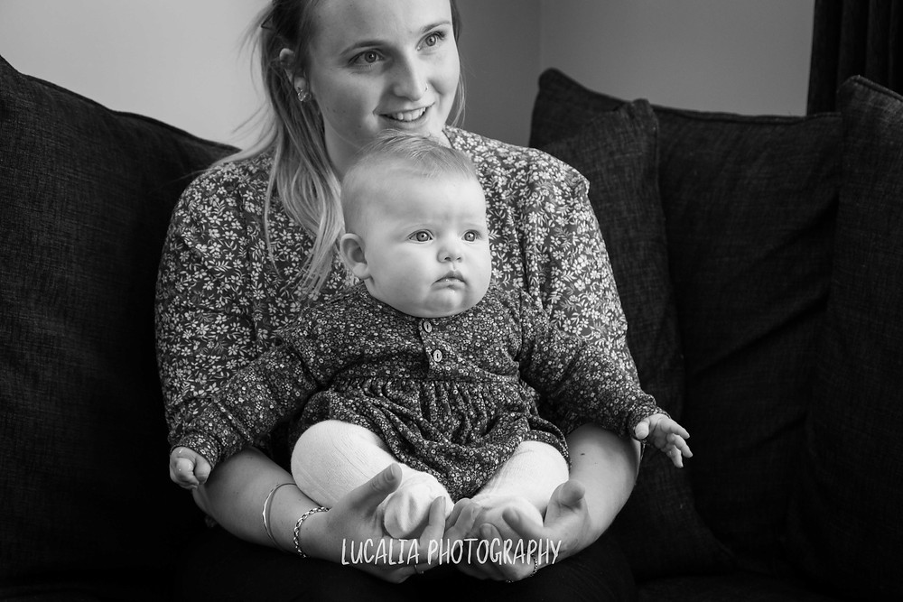 mother with daughter inside black and white, Wairarapa family photographer