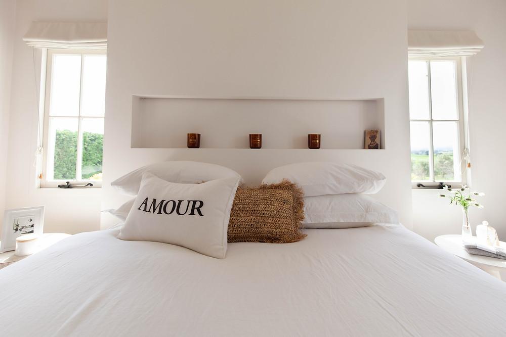 King bedroom, wedding accommodation Olivio~nor, Martinborough Wairarapa