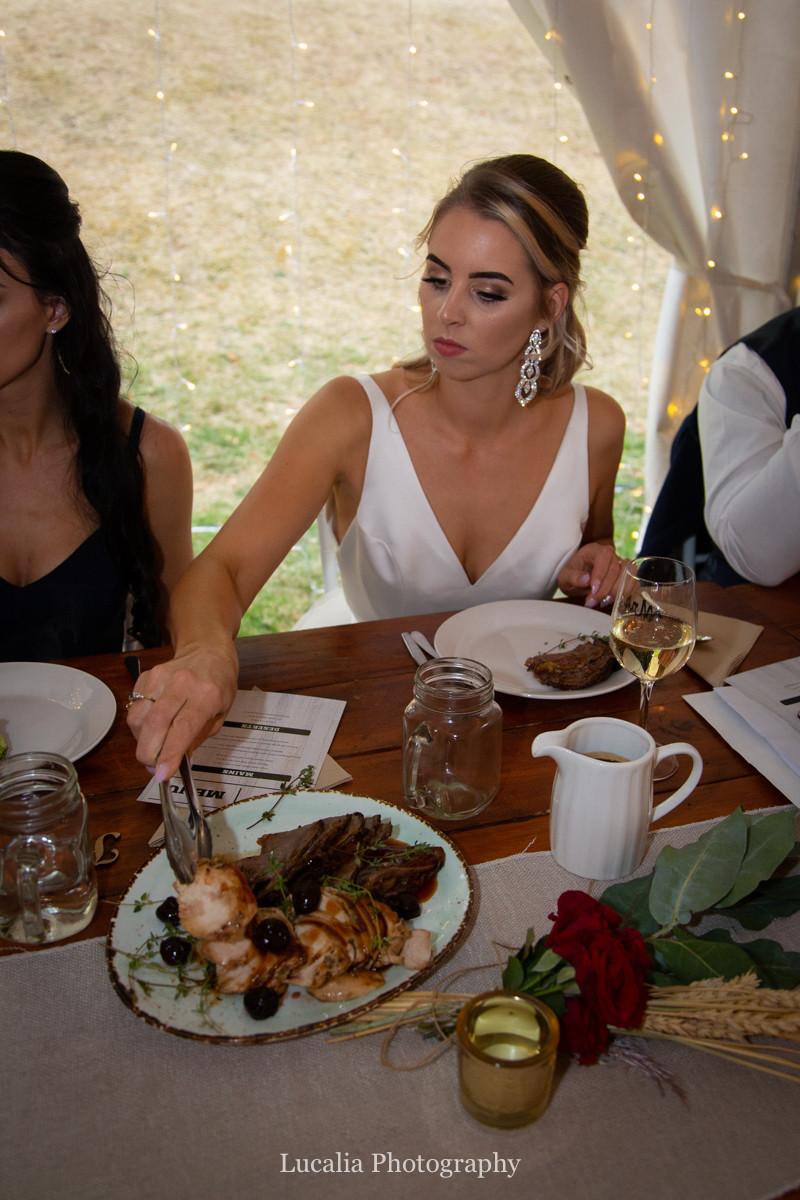 bride serving herself table buffet Artisan Kitchen