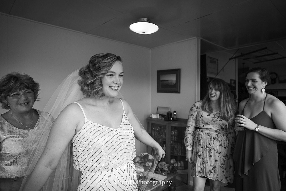 bride is ready with family, Wairarapa wedding photographers