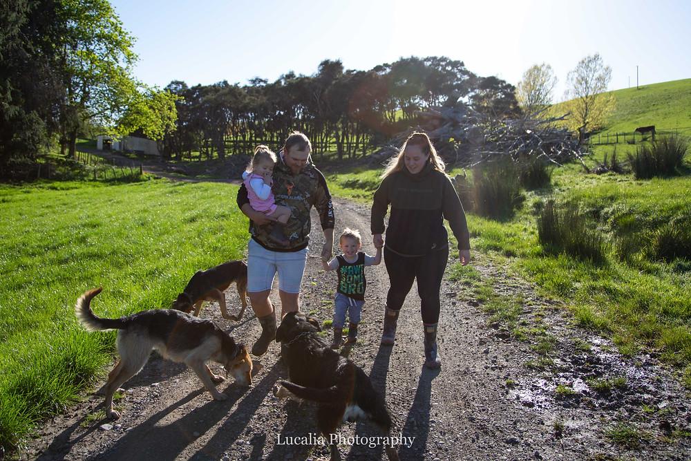 family walking down their country driveway, Wairarapa family photographer