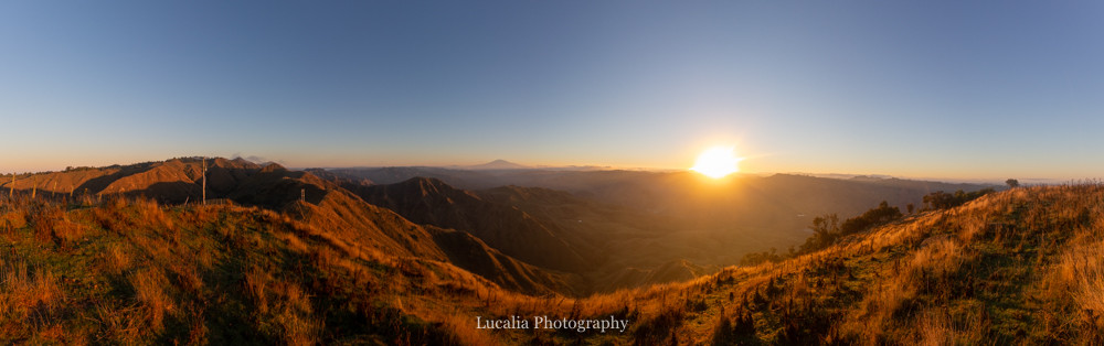 panorama sunrise over mount ruapehu from High Peaks Farm Stay, Mangamahu, Manawatu-Wanganui, New Zealand