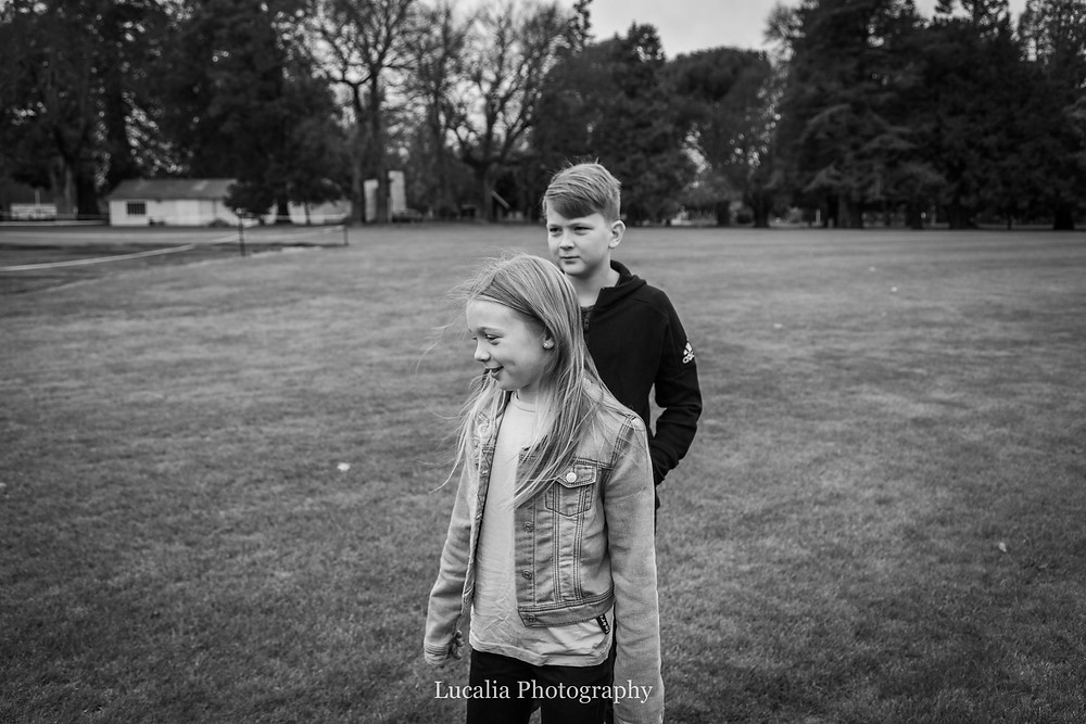 brother and sister in Queen Elizabeth Park, Wairarapa family photographer