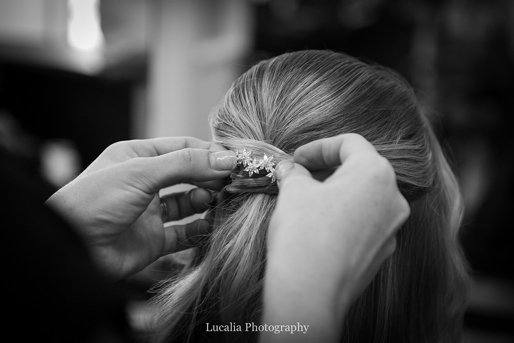 bridal hair pin being placed, Wairarapa