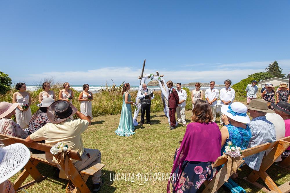 Castlepoint wedding ceremony, Wairarapa wedding, Lucalia Photography