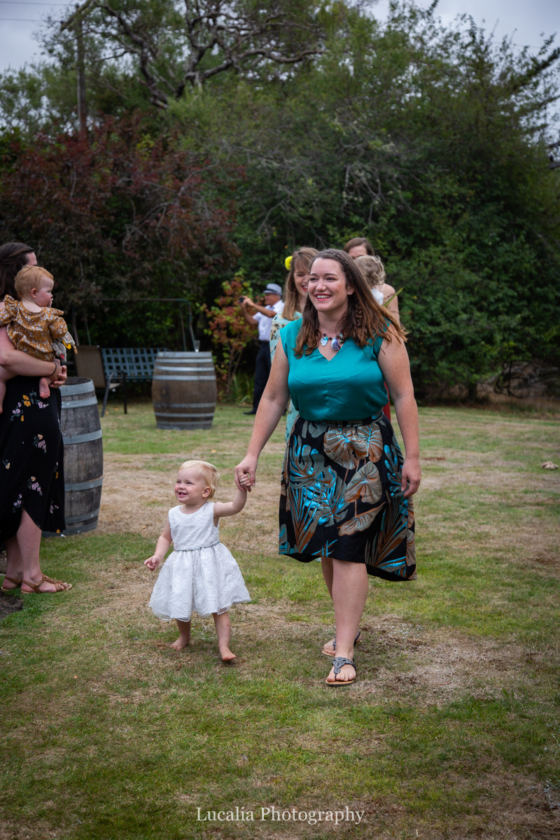 little girl walking down the aisle, Wairarapa wedding photographers