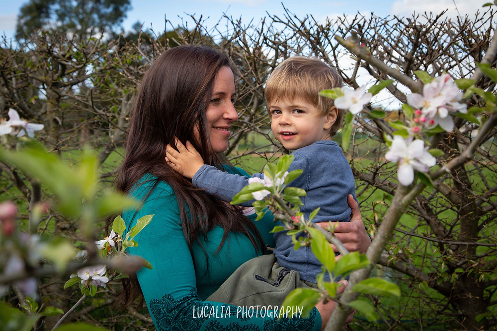 mum holding her son with apple blossom, Wairarapa maternity photographer