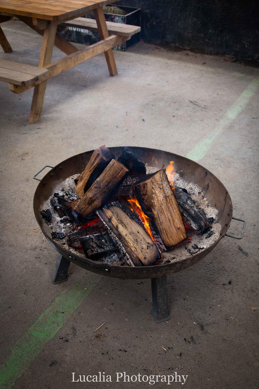 Maydena Bike Park outdoor log fire pit