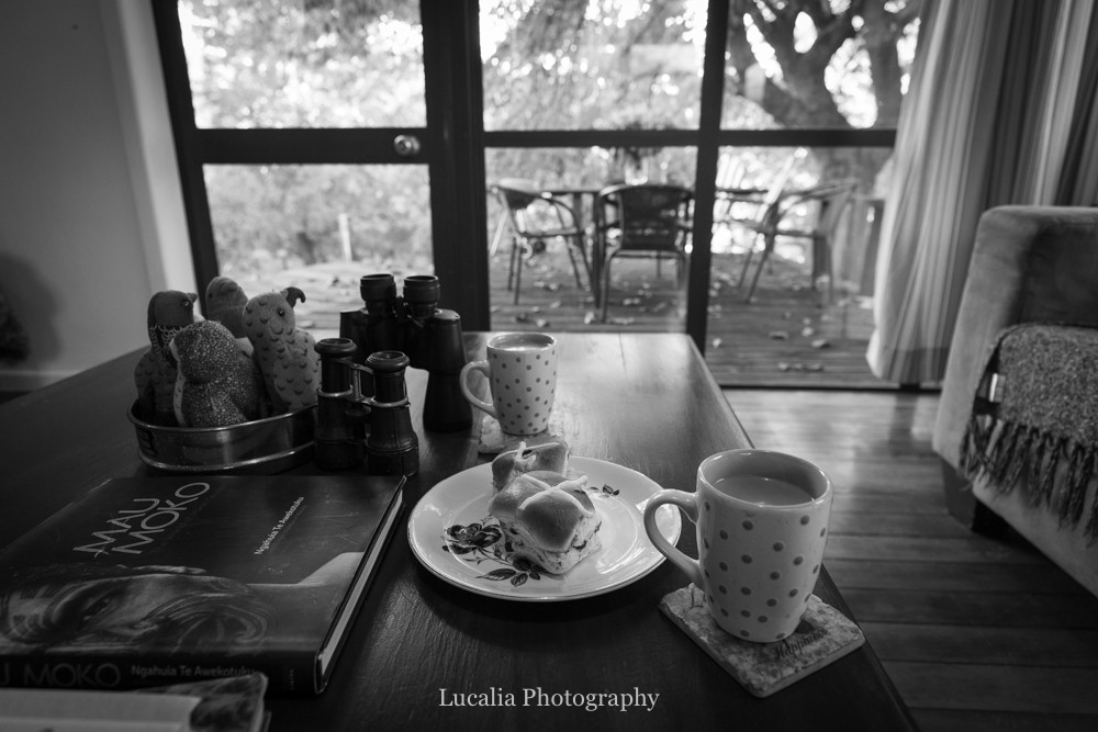 hot cross buns and coffee at High Peaks Farm Stay, Mangamahu, Manawatu-Wanganui, New Zealand