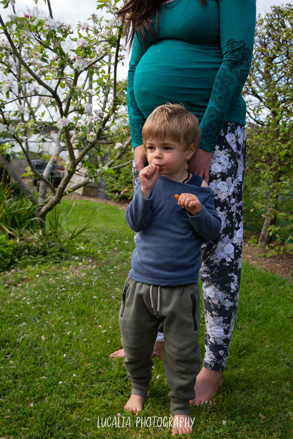 mum and son outside with apple blossom, Wairarapa maternity photographer