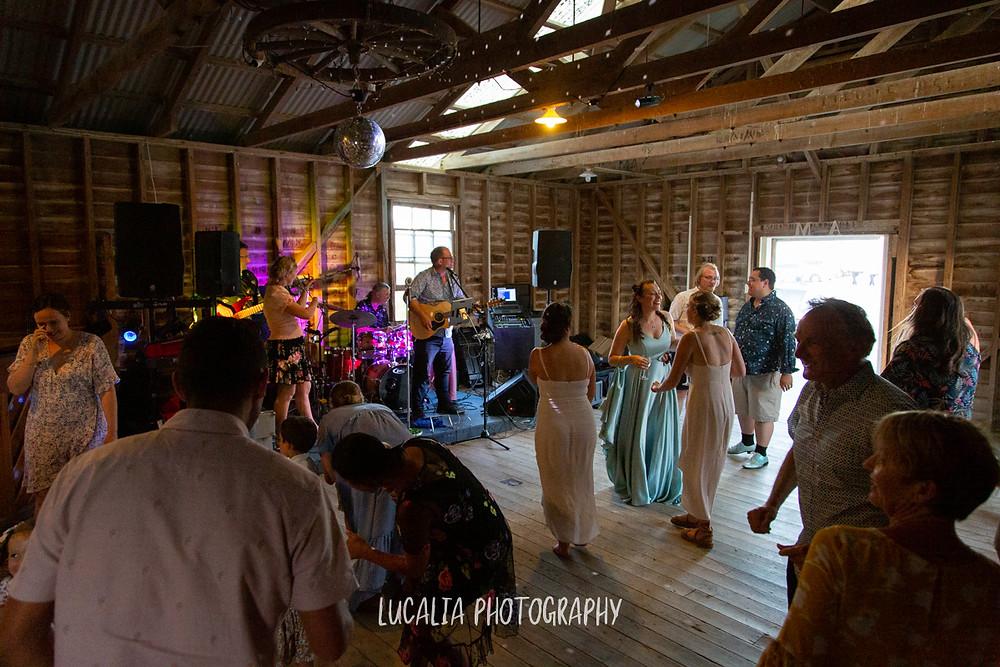 the shenanigans band dancefloor, Castlepoint Wairarapa wedding, Lucalia Photography