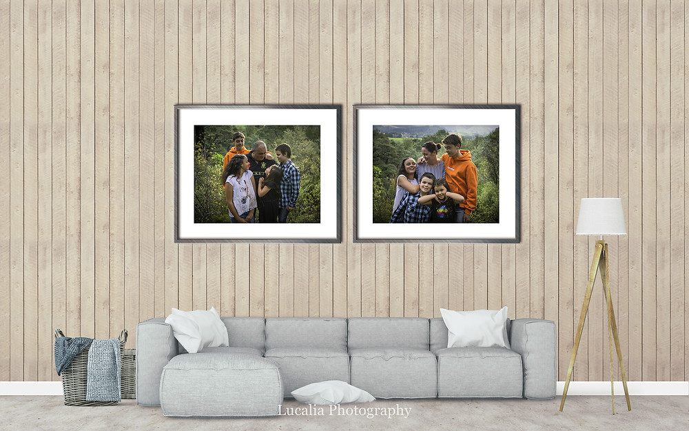 two framed documentary style photos on a wall above a lounge, Wairarapa family photographer