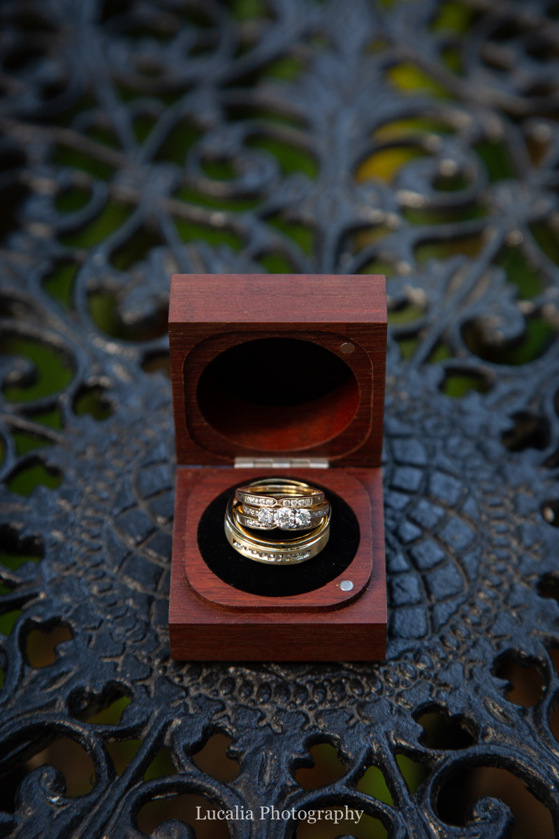 wedding rings in a timber box on an intricate black garden table, Wairarapa
