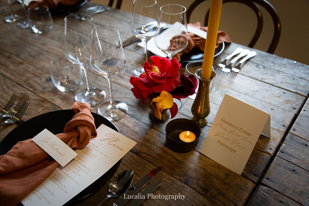 place setting with stationary and flowers Rose & Smith at Tauherenikau Wairarapa wedding venue