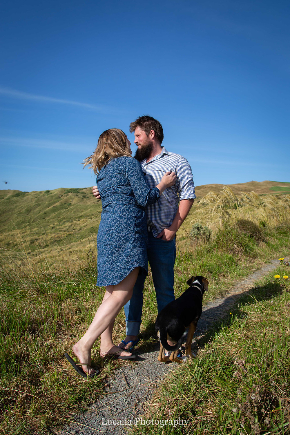 Wairarapa engaged couple and their dog on a path at Castlepoint Wairarapa