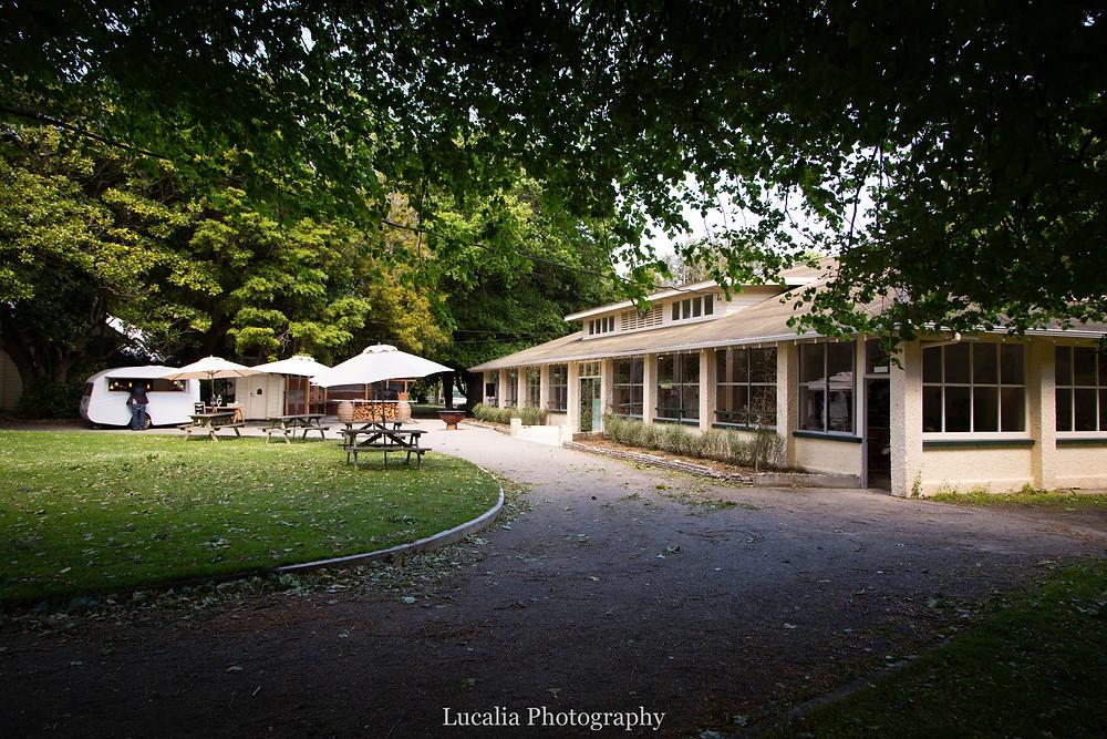 wedding venue from outside under trees, Rose & Smith at Tauherenikau Wairarapa wedding venue
