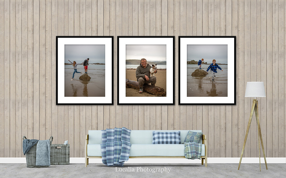 three framed family photos on a lounge room wall, Wairarapa family photographer