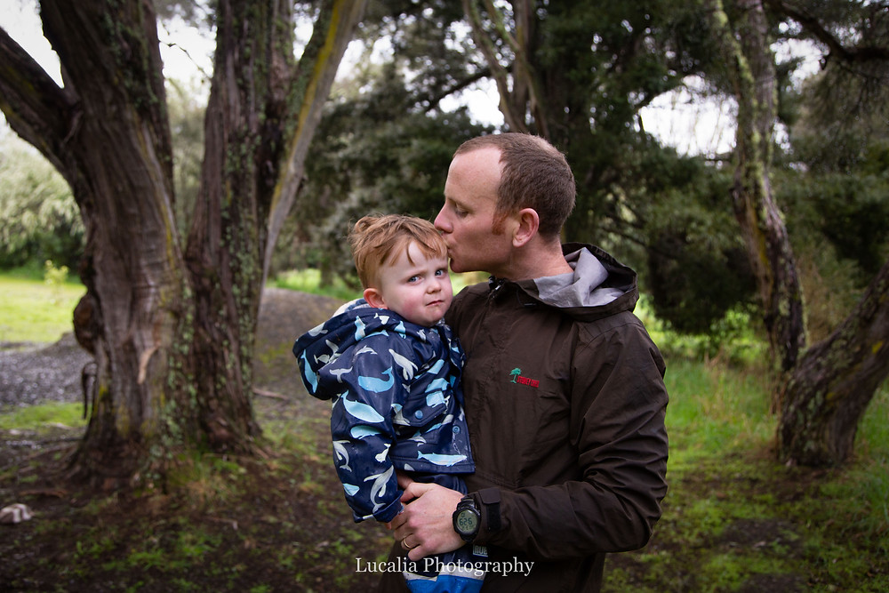 father kissing his son's forehead, Wairarapa family photographer
