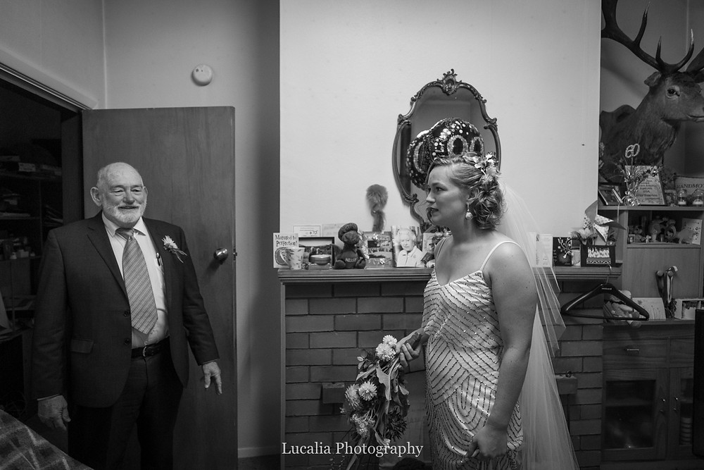 father of the bride sees his daughter for the first time on her wedding day, Wairarapa wedding photographers