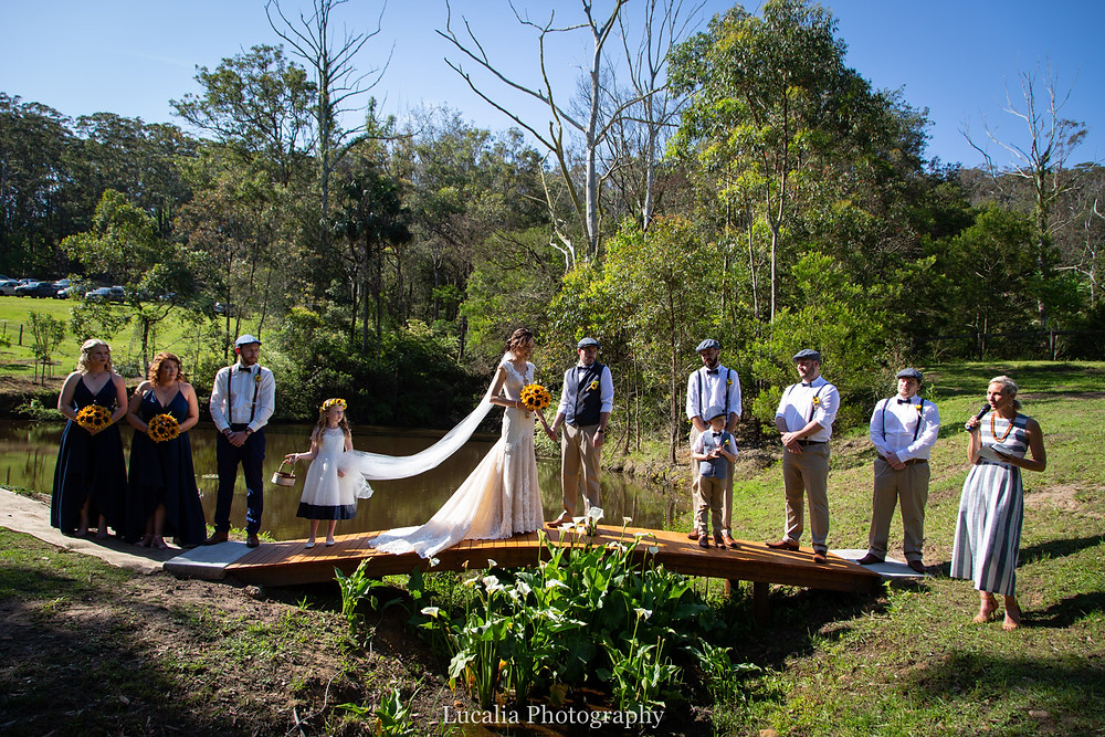 backyard bush wedding venue with dam and bridge, Wairarapa wedding photographer