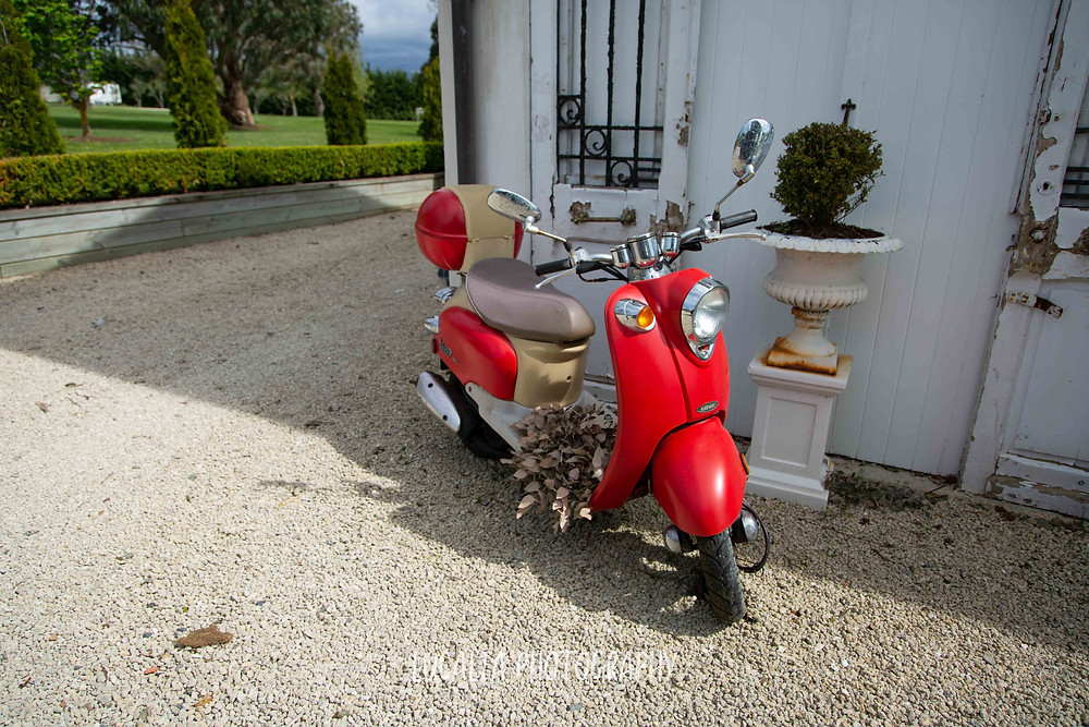 red Vespa, wedding accommodation Olivio~nor, Martinborough Wairarapa