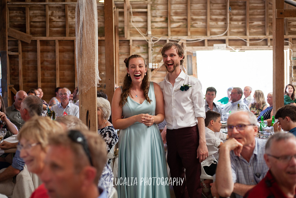 bride and groom laughing during speeches, Castlepoint Wairarapa wedding, Lucalia Photography