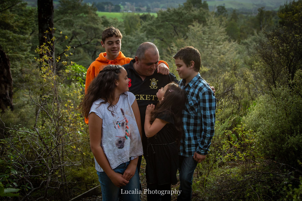 father with his children, in a forest, Wairarapa family photographer