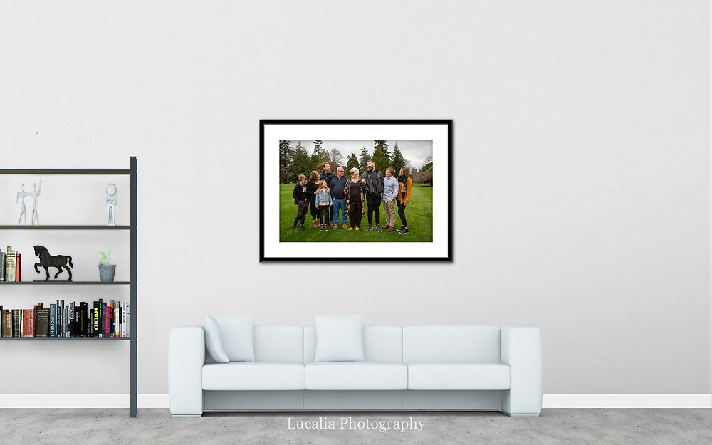 framed family photo on the wall above a couch, Wairarapa family photographer