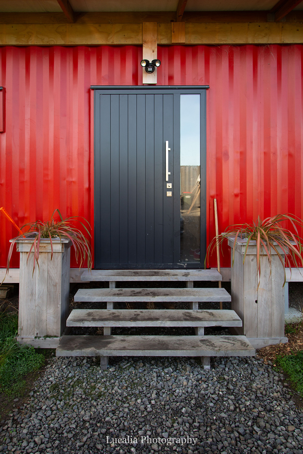 front door of eco-friendly family container home, Wairarapa