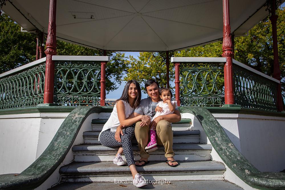 family portrait on rotunda steps, Carterton, Wairarapa family photographer