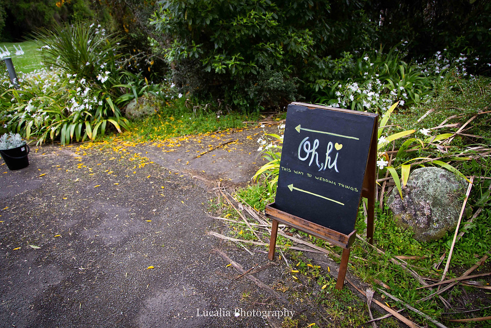 Wild Rose and Co wedding styling entrance sign, Wairarapa wedding photographer