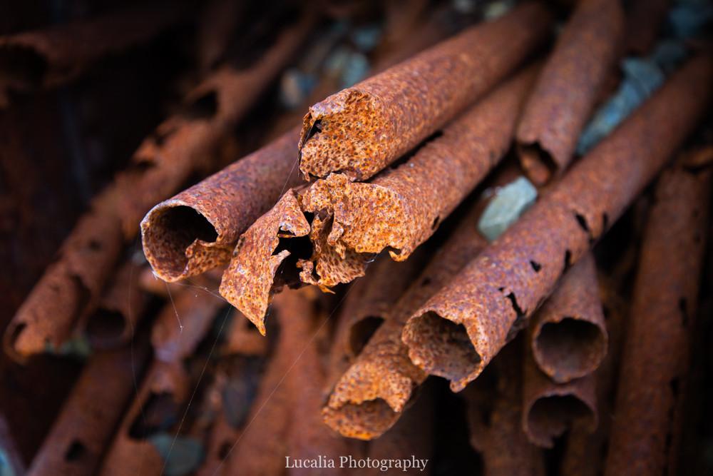 Rusty pipes at the Summit, Remutaka Incline, Wairarapa walk