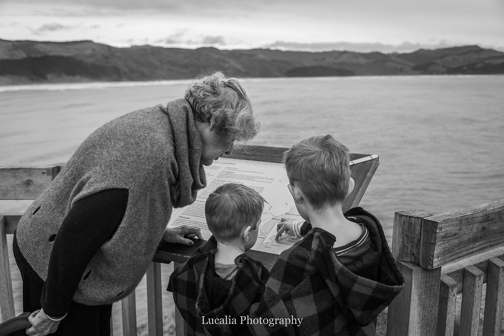 grandmother with her grandchildren looking at a map, at a lookout overlooking a bay, Castlepoint Wairarapa family photographer