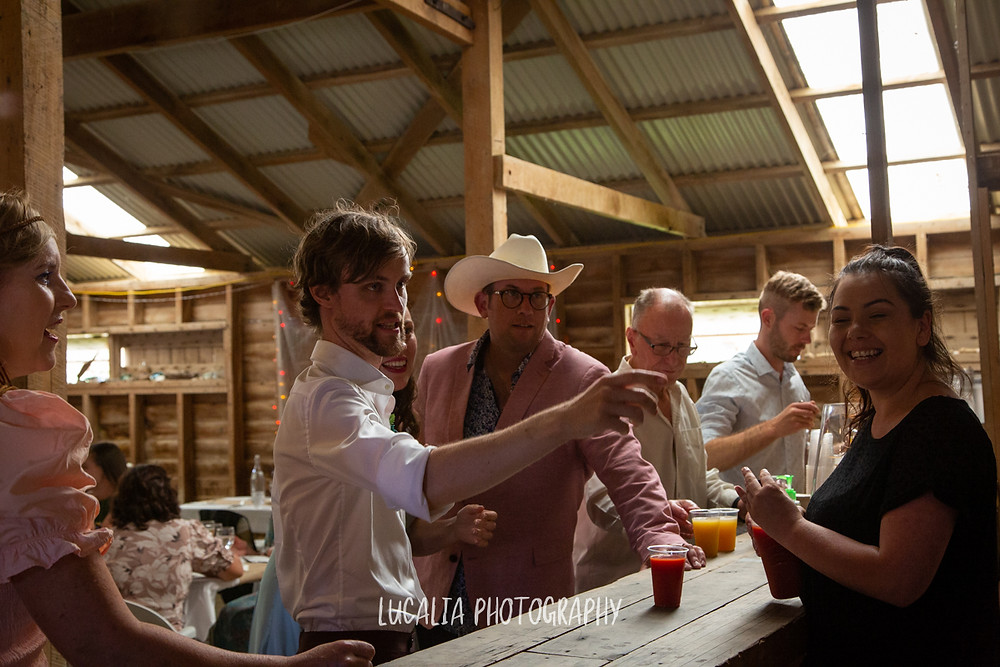 at the bar, Castlepoint Wairarapa wedding, Lucalia Photography