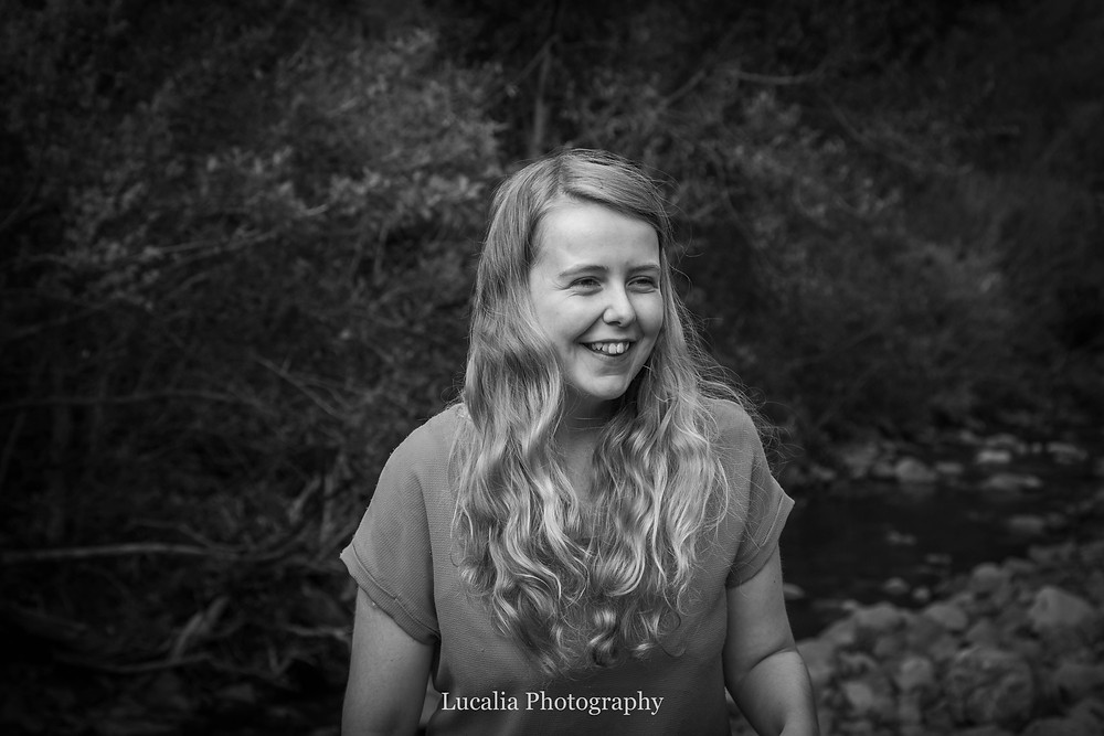 bride to be smiling near a river, Featherston Wairarapa