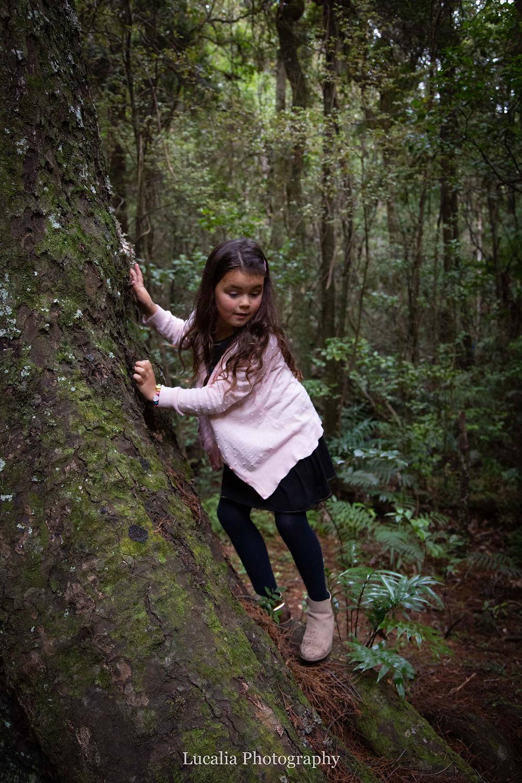 girl wearing a pink cardigan climbing down a tree, Wairarapa family photographer