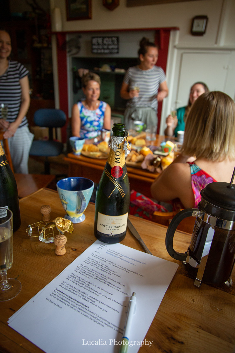 open bottle of moet ladies wedding breakfast, Wairarapa wedding photographers