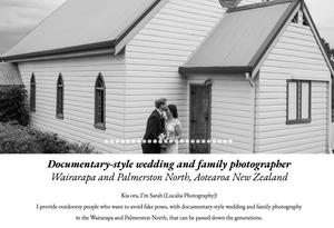Lucalia Photography website screenshot, Wairarapa wedding photographer