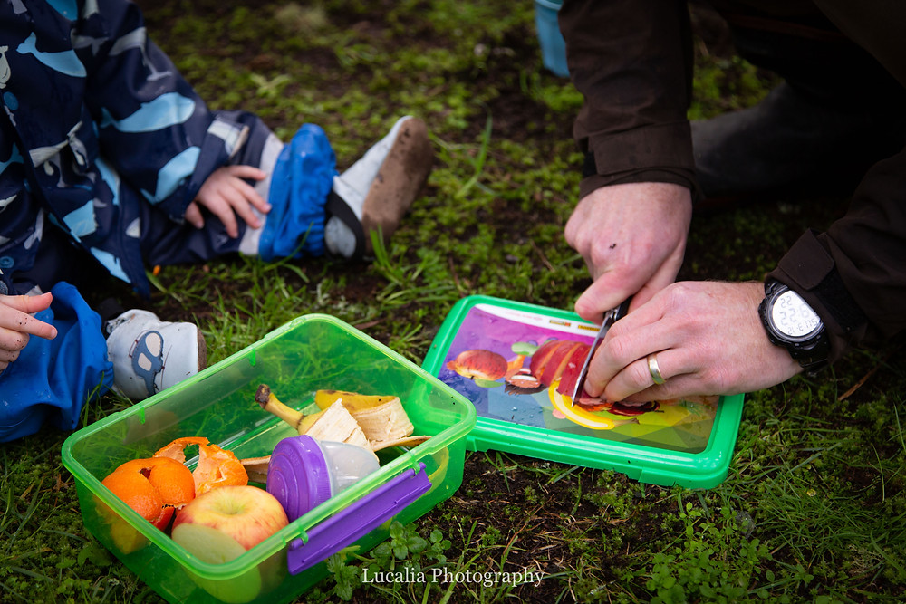 father cuts up an apple for a picnic with his son, Wairarapa family photographer