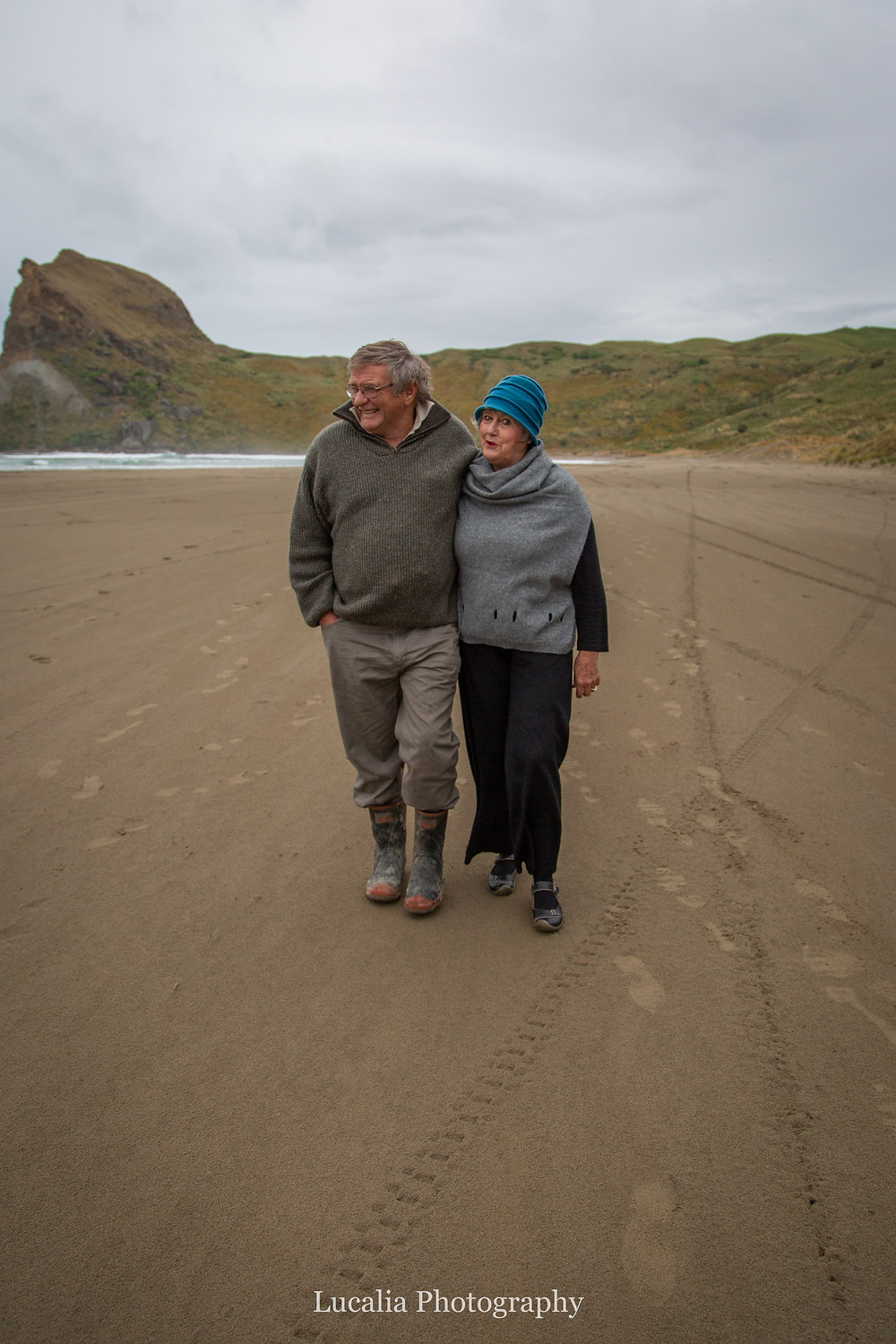 grandparents walking along the beach, Castlepoint Wairarapa family photographer