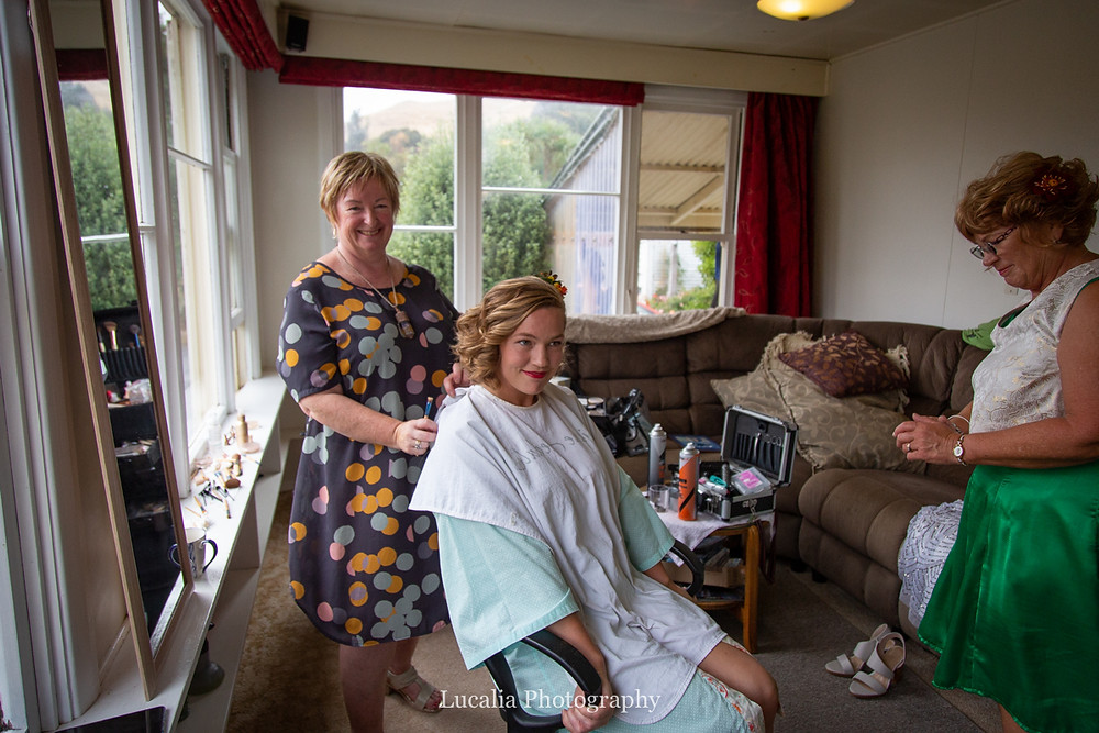 bridal hair and make up complete by Calma Therapies, Wairarapa wedding photographers