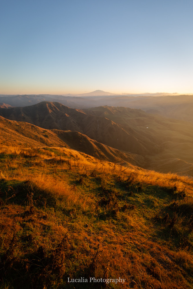 sunrise over mount ruapehu from High Peaks Farm Stay, Mangamahu, Manawatu-Wanganui, New Zealand