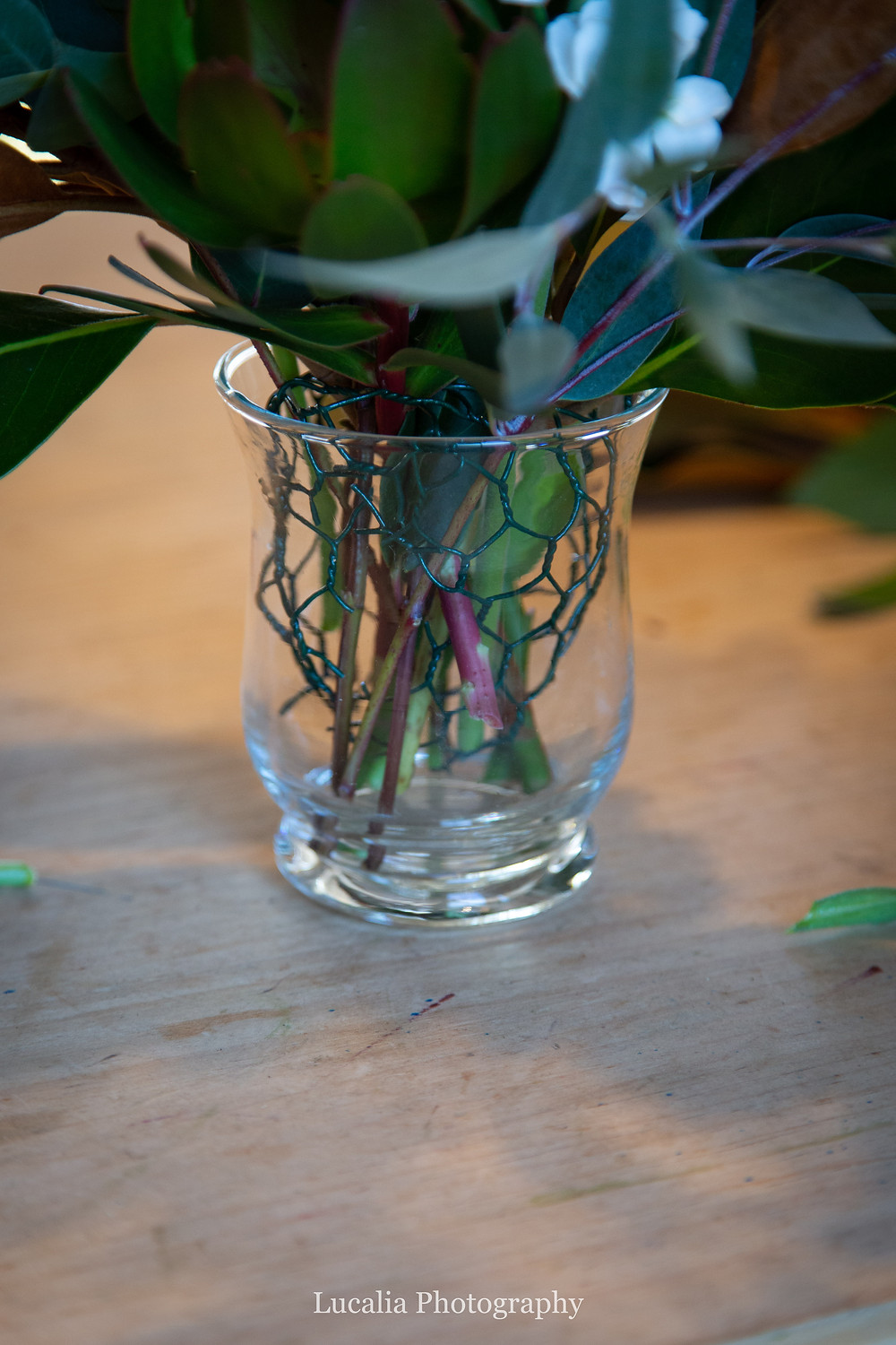 ethical florist chicken wire in a glass vase, Wairarapa