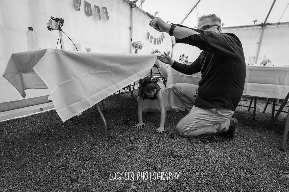 guest playing with junior bridesmaid at wedding reception, Waimeha Bar and Grill, Ngawi Wairarapa wedding photographer