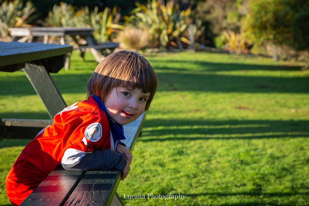 son hugging a picnic bench, Wairarapa family photographer
