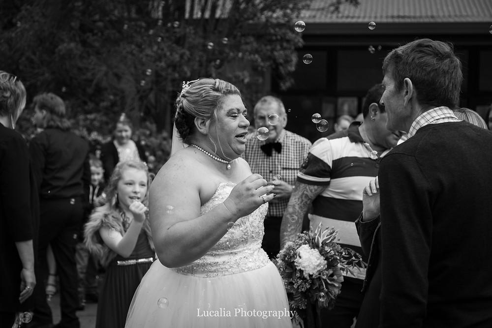 bubbles at wedding reception, Wairarapa wedding photographer