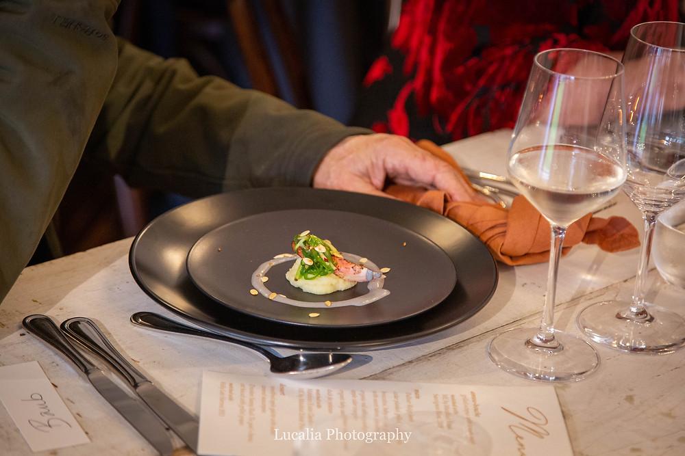 entree on a plate at Rose & Smith at Tauherenikau Wairarapa wedding venue